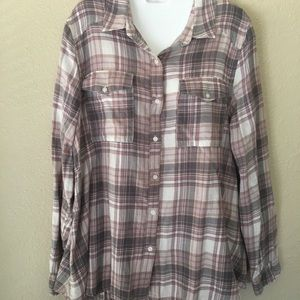 ABOUND woven plaid top, blouse size medium